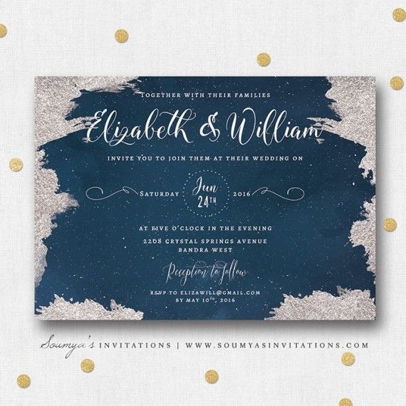 Navy Blue And Silver Star Wedding Invitation Constellation Moon Stars Starry Night
