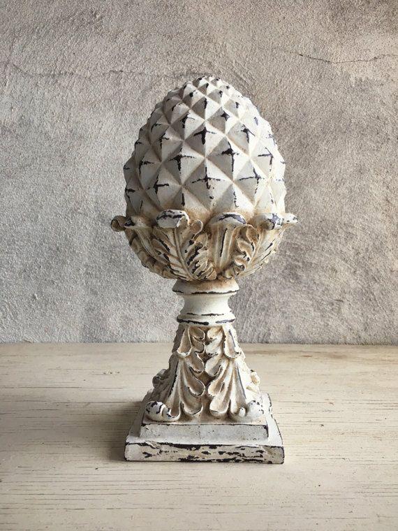 Vintage distressed white acorn finial 1980s repro by romaarellano