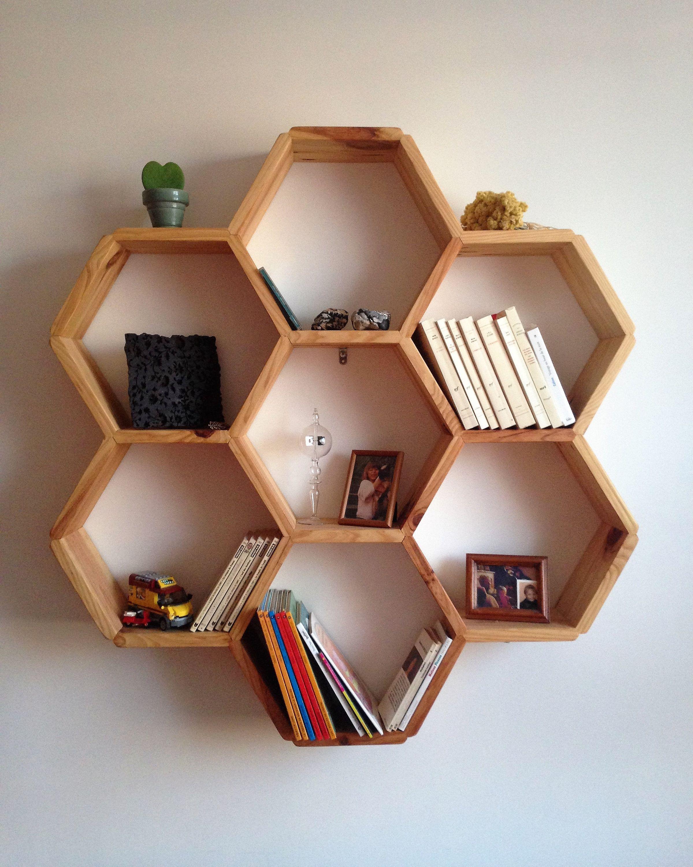Hex Wooden Shelf Etagere Hexagonale En Bois En 2020 Etagere