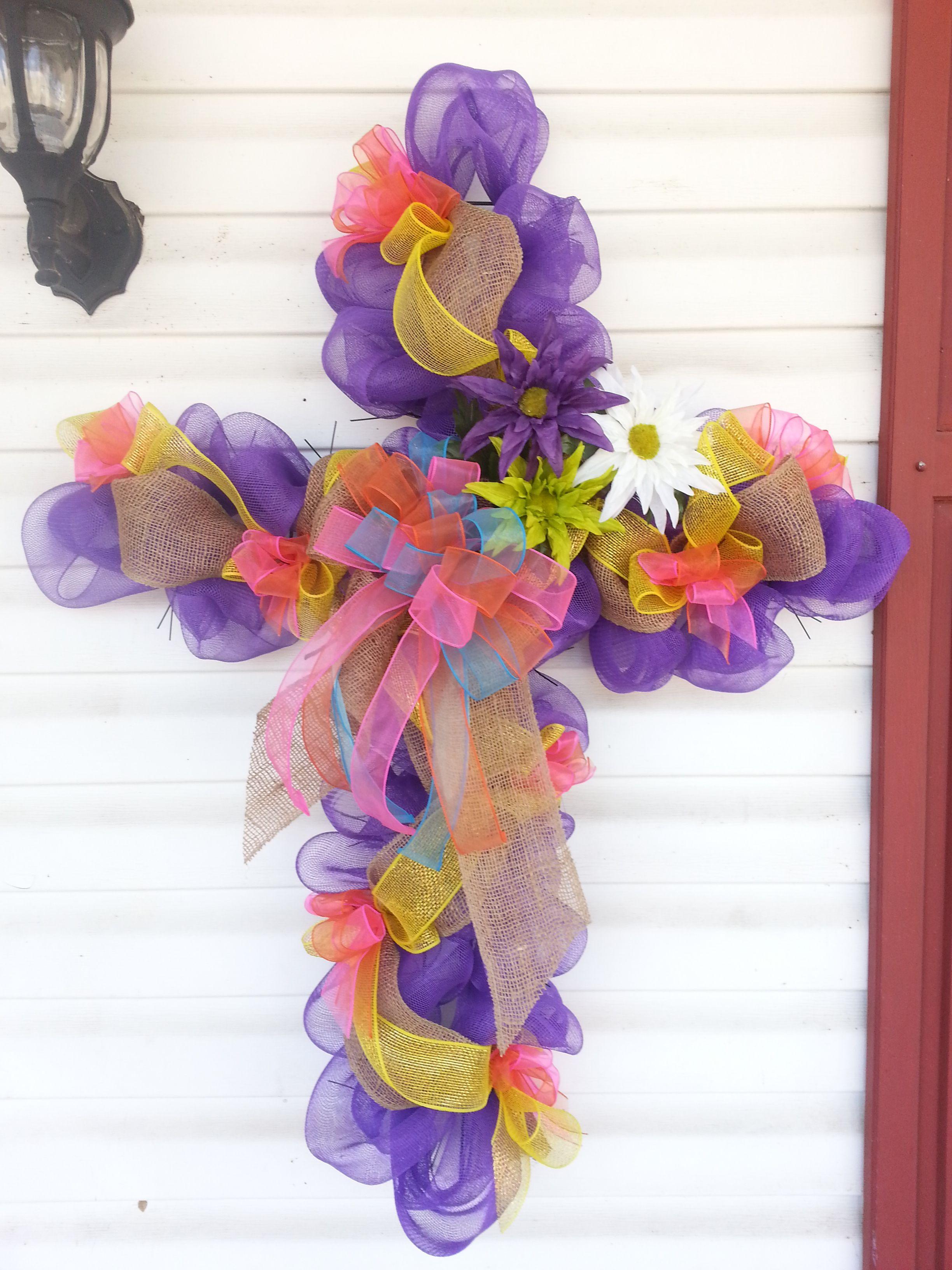 Deco easter cross wreath easter wreath diy cross wreath
