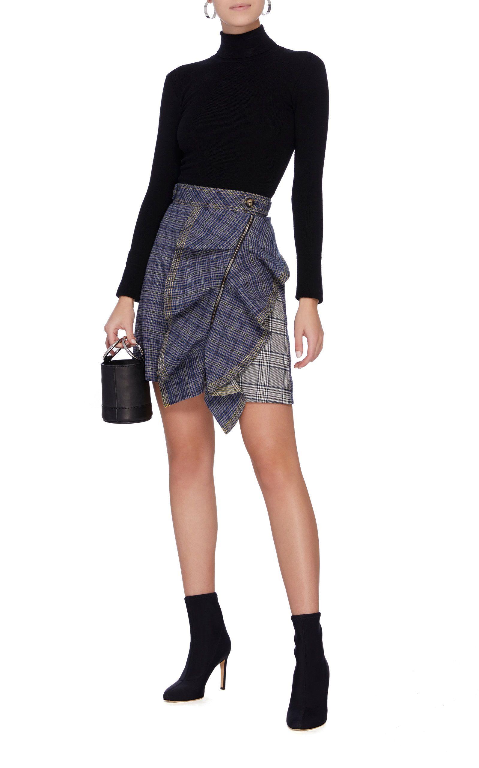Flounced Check Mini Skirt in plaid
