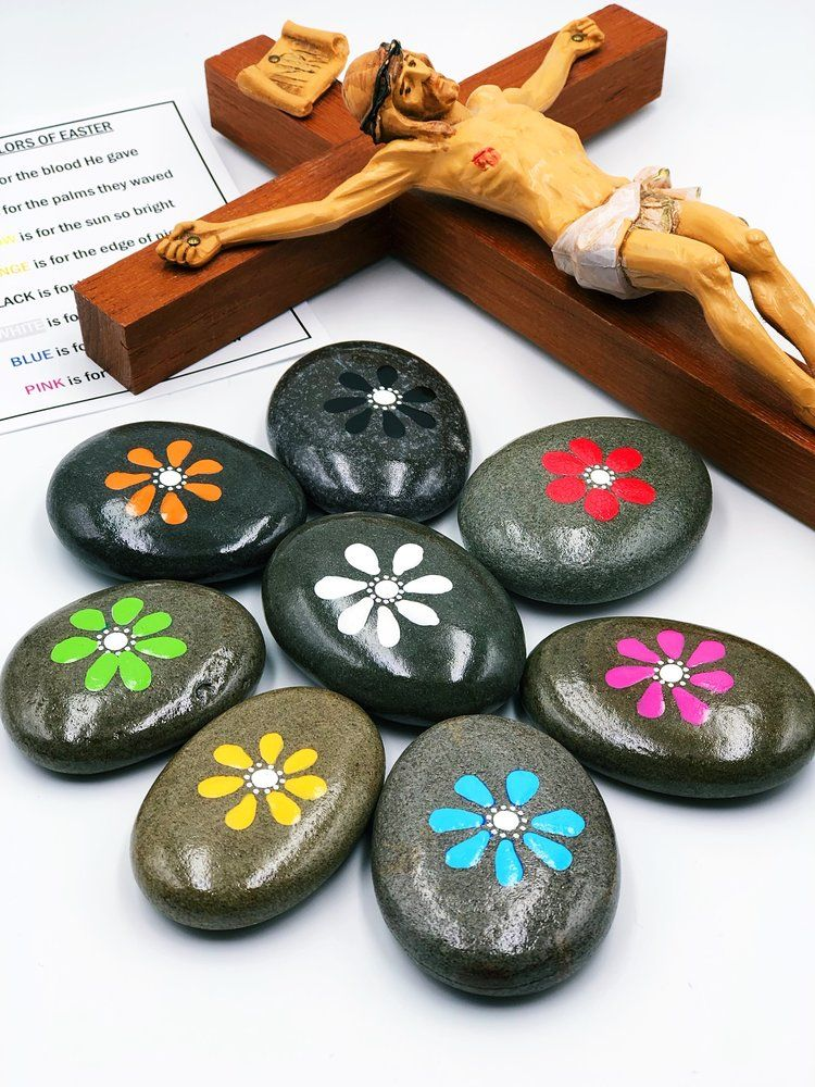 Colors of easter story stones resurrection story stones