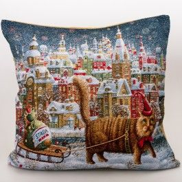 Cat with a Sled Decorative Tapestry Throw Pillow | Product sku J-126479
