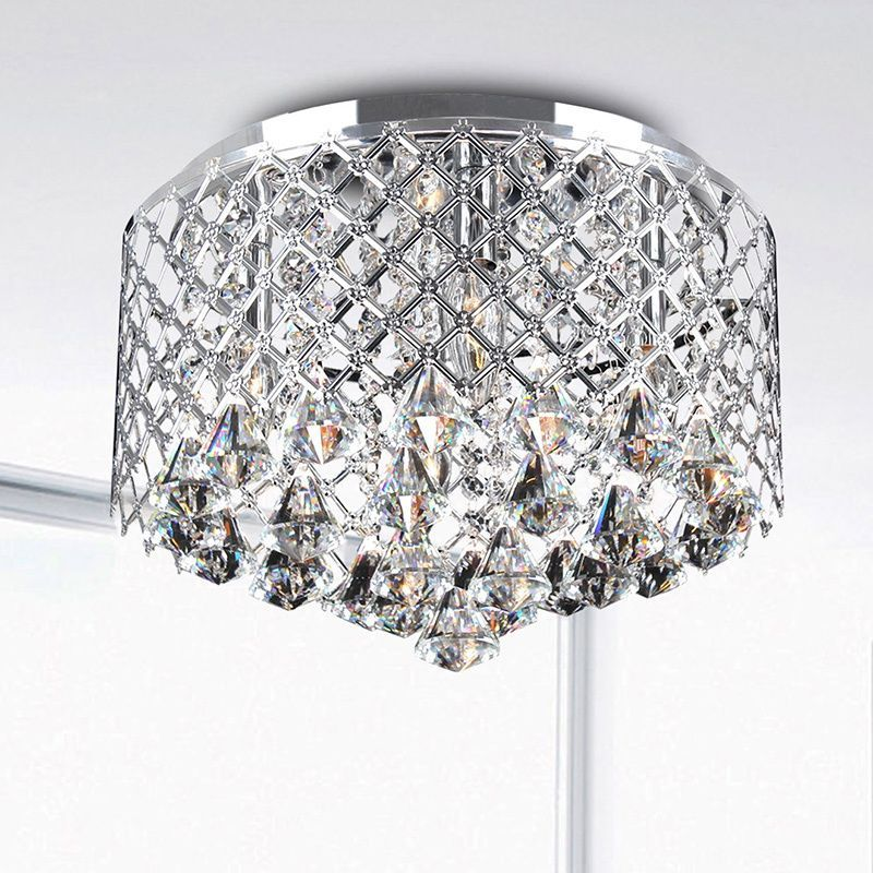 Add Sparkle To Any Room Of Your Home With This Dazzling Crystal Flush Mount Chandelier Four Light Fixture Has A Stunning Chrome Finish That
