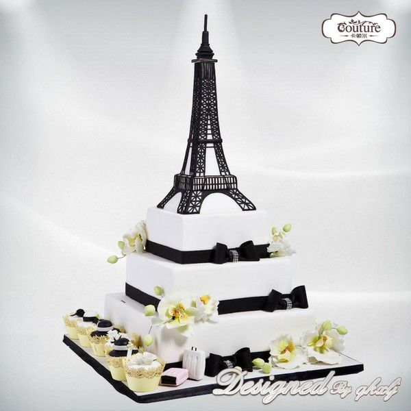 Pastel tower iffel BLACK AND WHITE CAKES Pinterest Tower