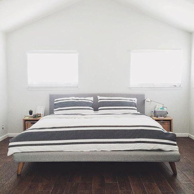 444a45aa0e West Elm Mod Upholstered Platform Bed - Heathered Crosshatch | Finds ...