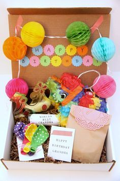 A really cute Birthday-In-a-Box gift to send to someone who doesn ...