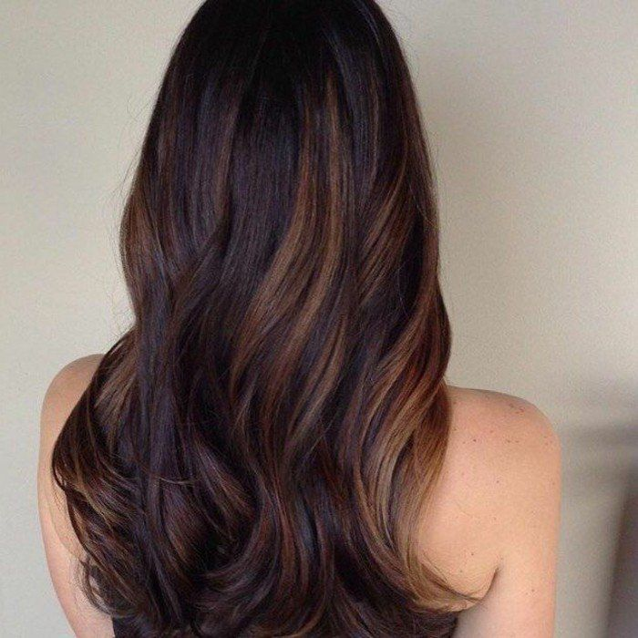 balayage caramel sur base brune cheveux lisse. Black Bedroom Furniture Sets. Home Design Ideas