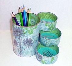 Coffee can, tuna cans, super glue & pretty paper :)
