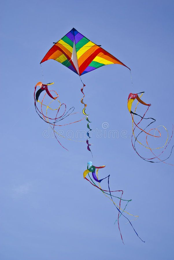 Kite Colorful kite with spinners captured on sunny day