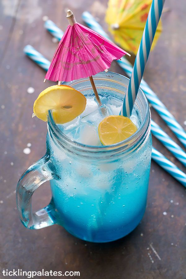 Blue Lagoon Non Alcoholic Blue Curacao Mocktail