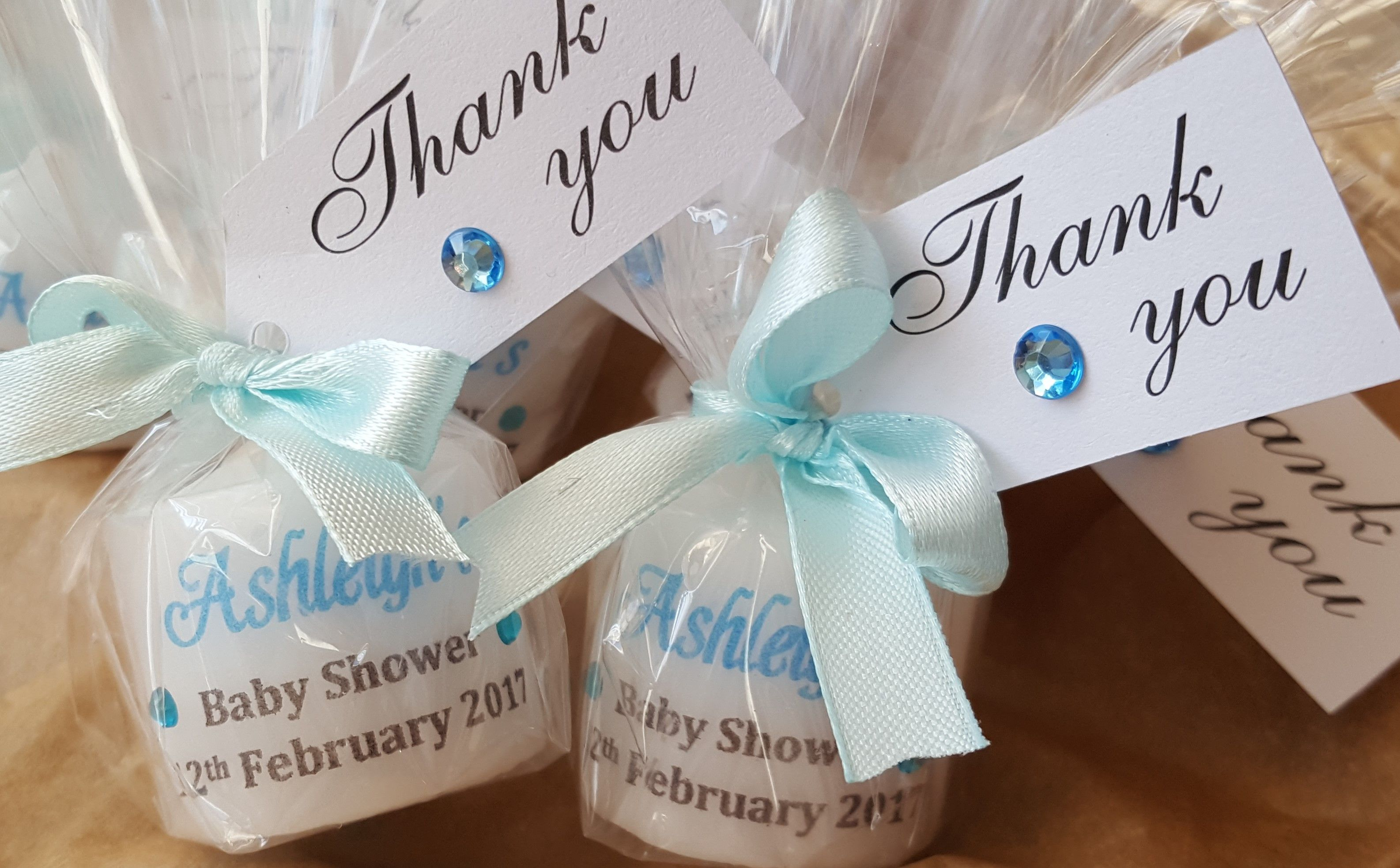 Baby Shower Gifts Wrapped In Clear ~ Personalised baby shower candle wrapped in clear cellophane and