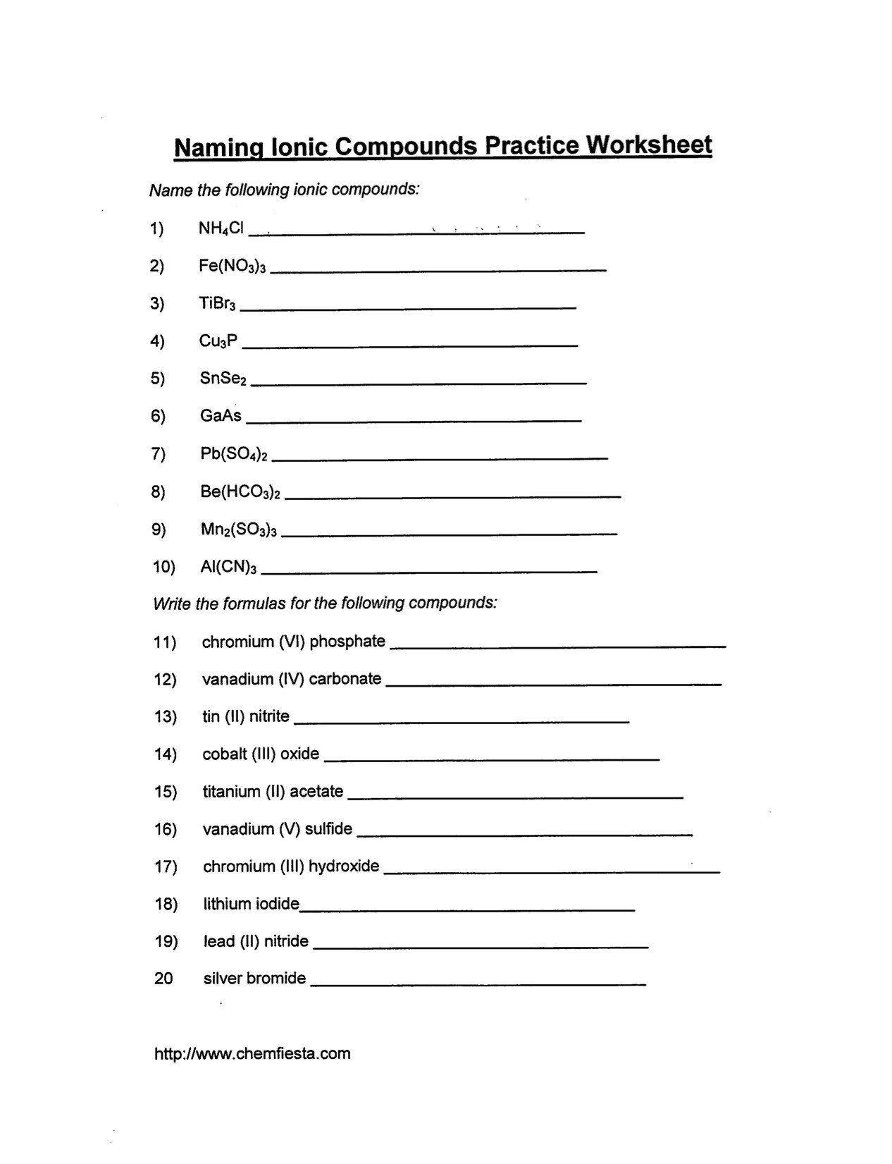 Writing Ionic Formulas Worksheet January