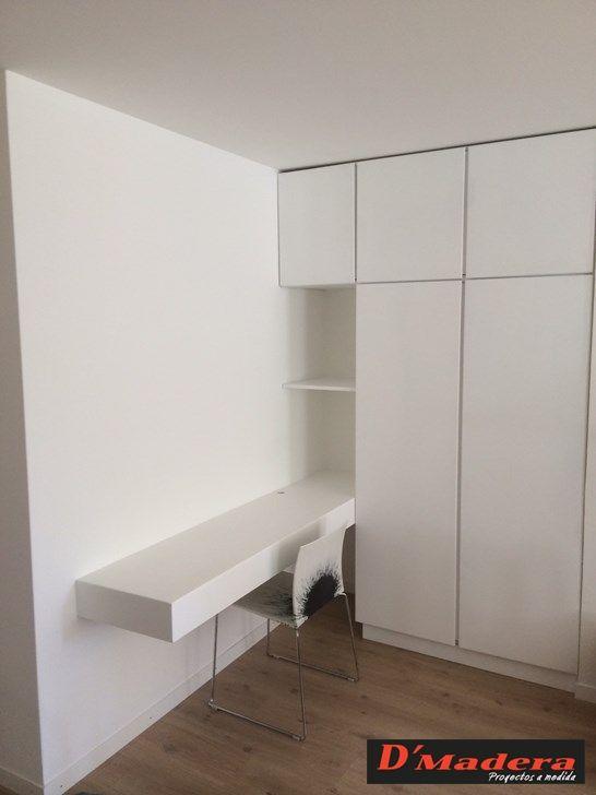 Armario con escritorio integrado lacado blanco ideas - Armario blanco pequeno ...