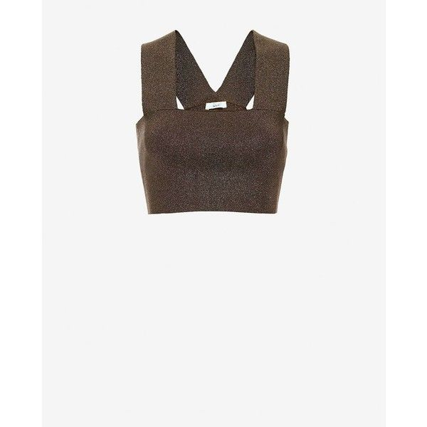 eba39f6e6412cb A.L.C. Ali Crop Metallic Tank ($225) ❤ liked on Polyvore featuring tops,  brown, white tank top, white top, metallic crop top, bandeau tops and crop  top