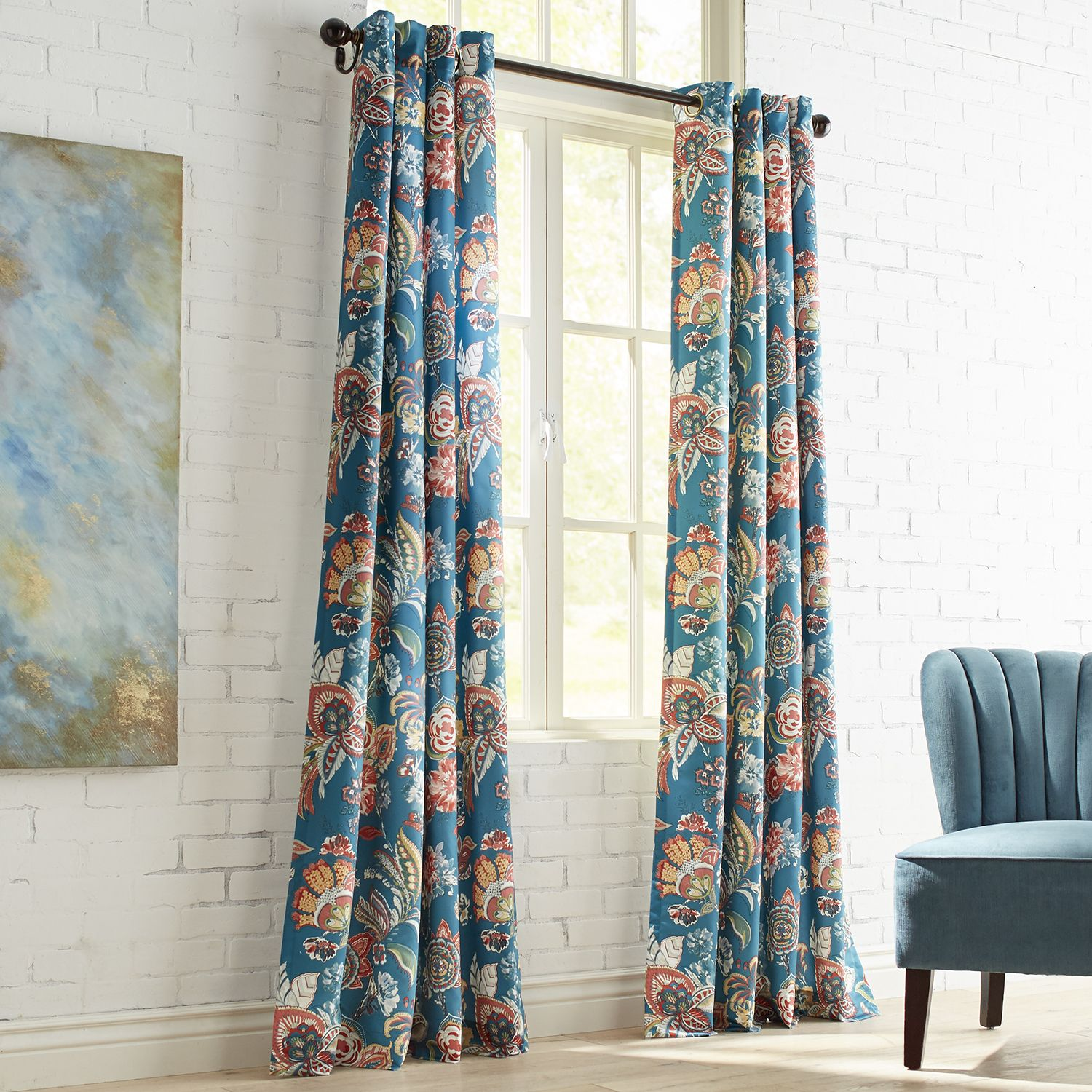 Ashford Floral Teal Grommet Curtain Drapes CurtainsGrommet CurtainsPatterned