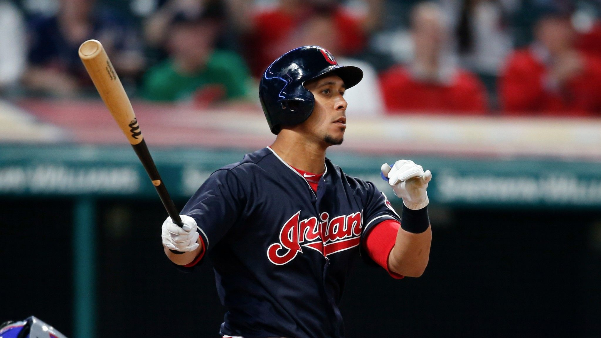 Cleveland Indians Michael Brantley connects for a game