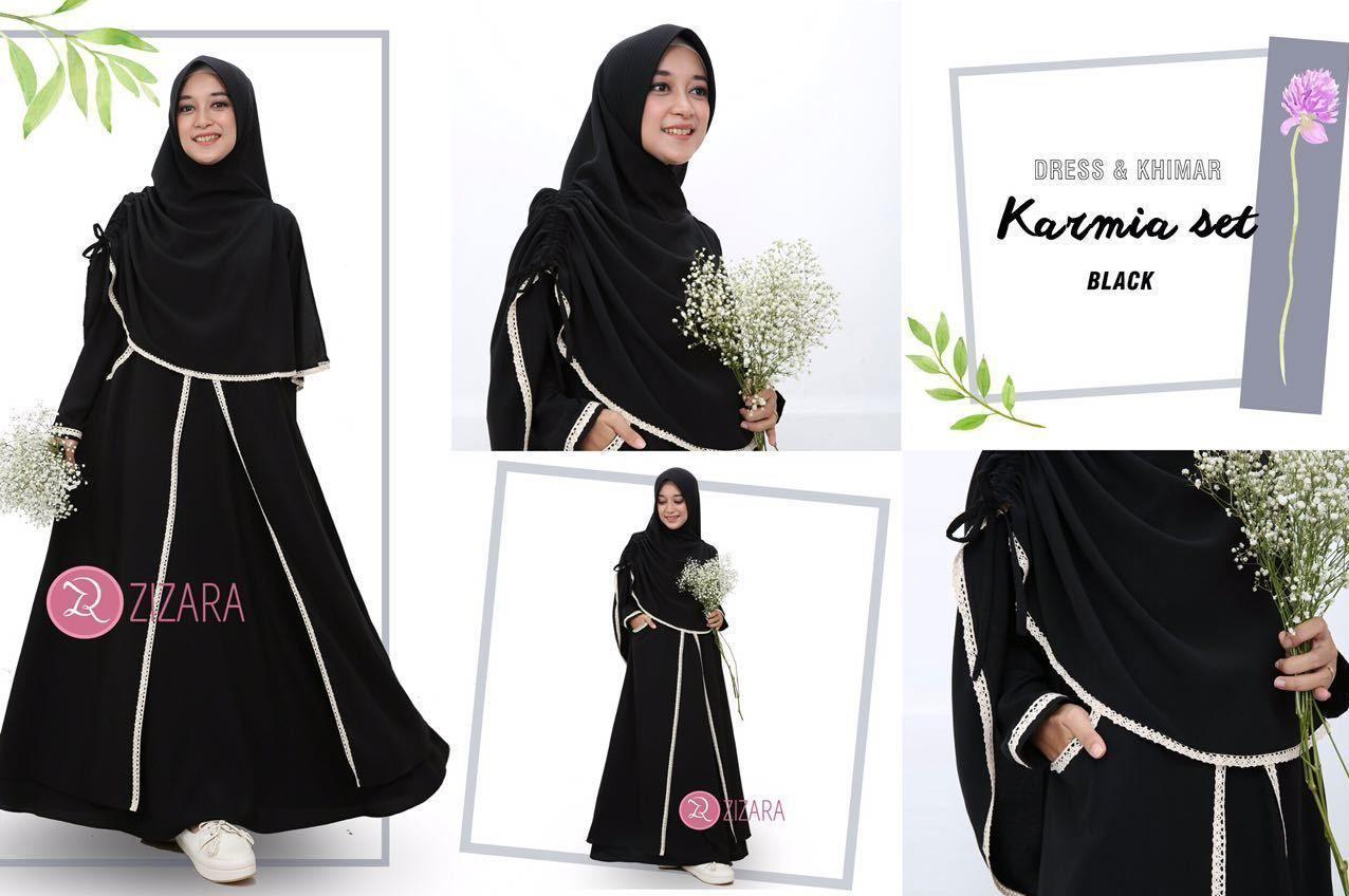 Gamis Zizara Karmia Set Black - baju muslimah busana muslim Kini hadir  untukmu yang cantik syari 9f0451029b