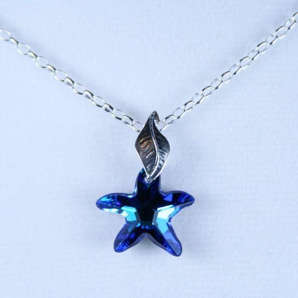 142aea3fd7968 Bermuda Blue Starfish Pendant in Swarovski Faceted Crystal Starfish ...