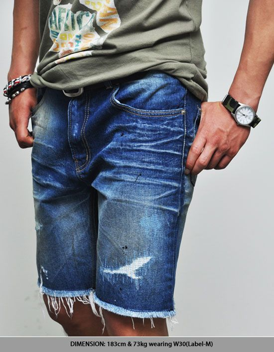 Bottoms :: Shorts :: Vintage Classic Blue Worn-out Jean Cutoff ...