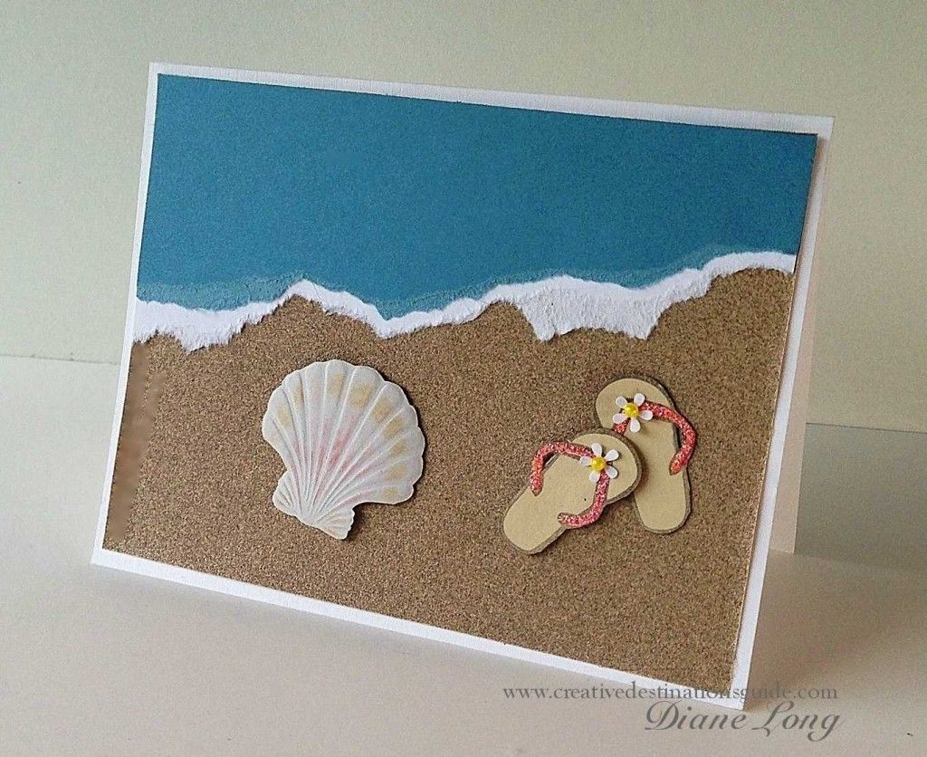 Beach card with stamp and brass stencil creative for Diy cards