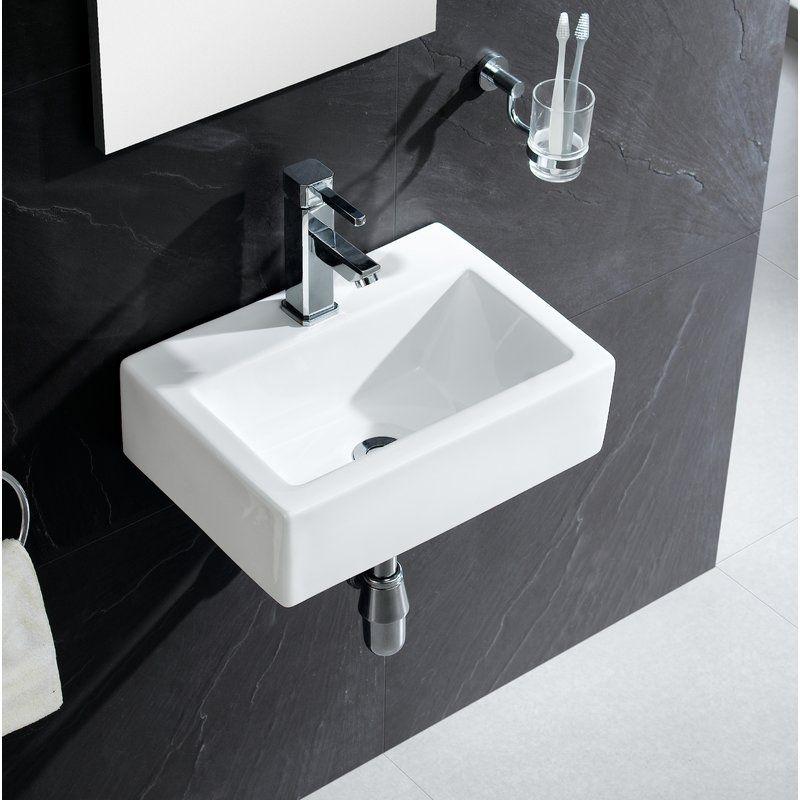 Vitreous China Rectangular Wall Mount Bathroom Sink Sink Small