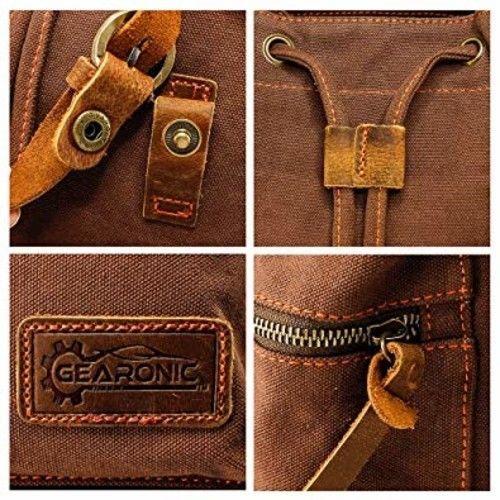 3e7a23d30238 Vintage Canvas Backpack for Men Faux Leather Rucksack Knapsack ...