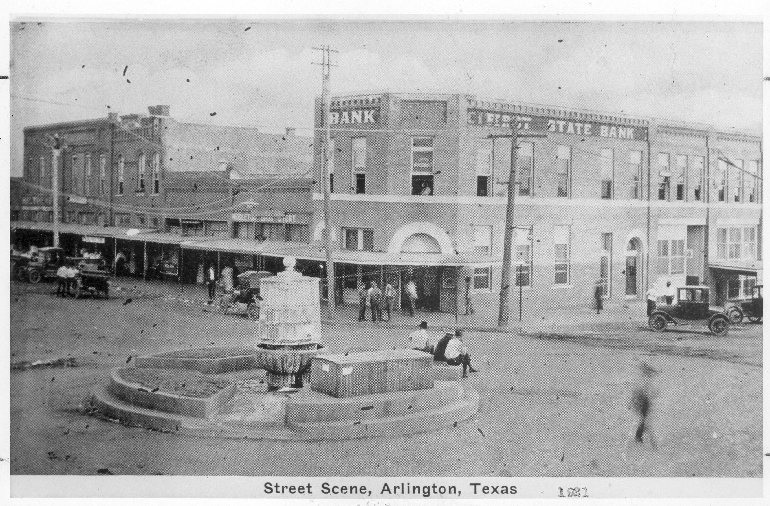 Mineral Well And First State Bank Cars And People On Street In Downtown Arlington 1921 Street Arlington Street View