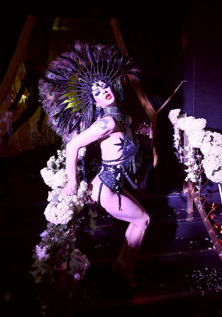 violet chachki performs at the august getty 305 cocktail party with hosts august getty and susanne bartsch at saxony bar at the faena hotel on december 2016