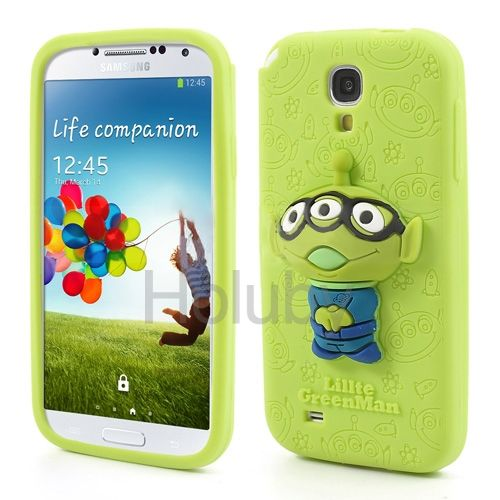 3D Tiny Green Man Silicone Protective Cover for Samsung Galaxy S4 I9500 I9502 I9505