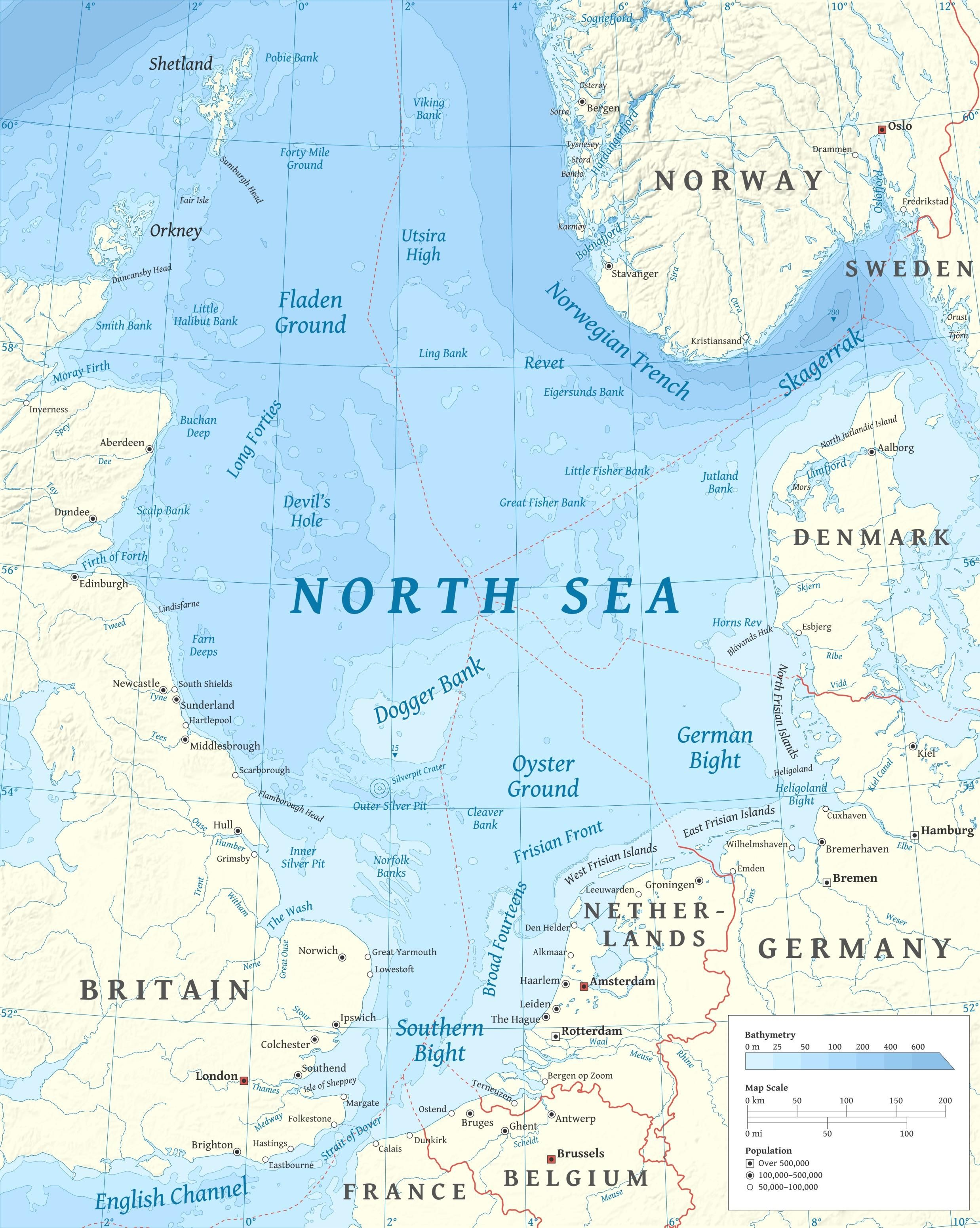 Map Of Germany North Sea.Map Of The North Sea With Name Of Important Fishing Grounds Sea