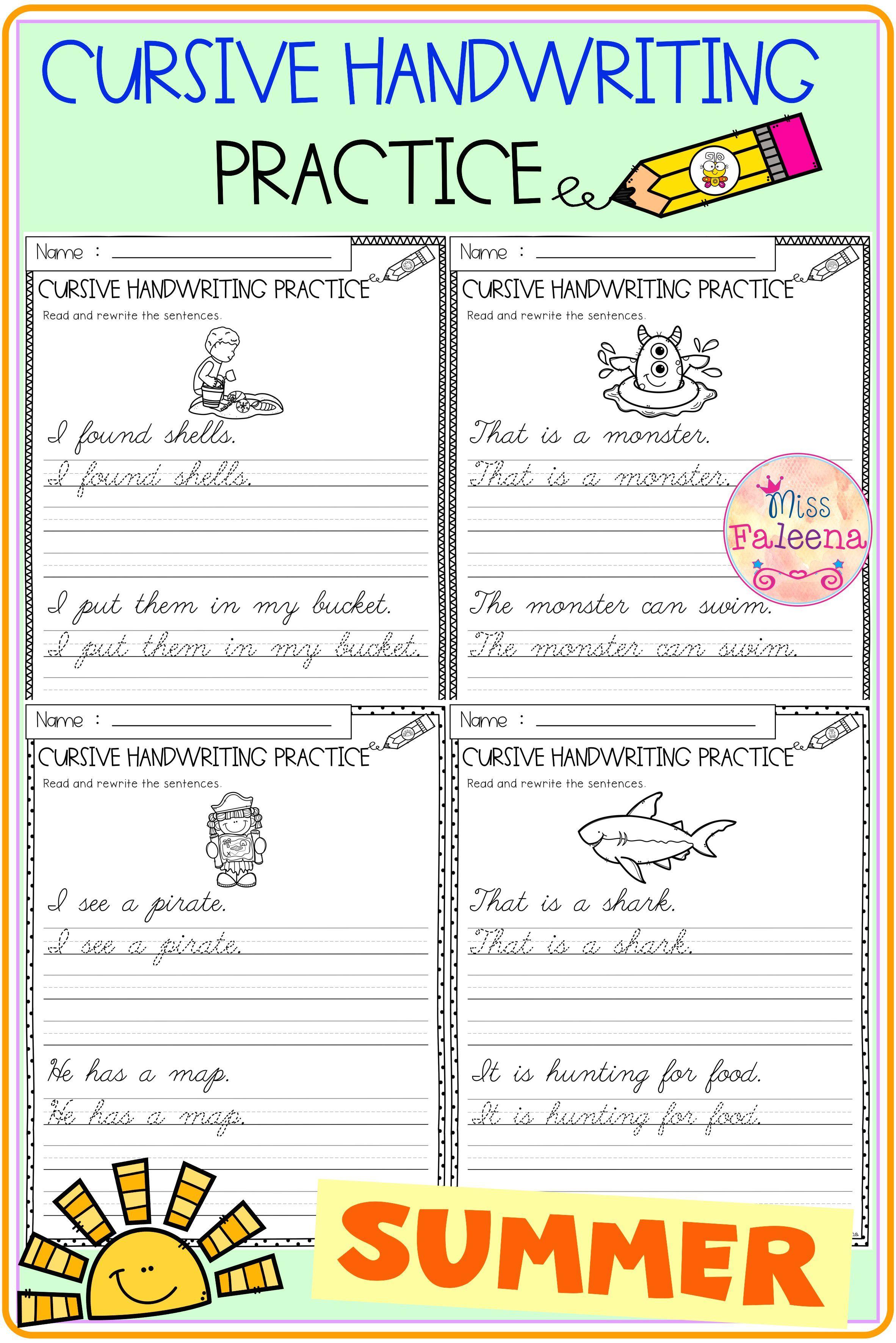 Summer Cursive Handwriting Practice Cursive Handwriting Practice Handwriting Practice Cursive Practice [ 3544 x 2364 Pixel ]