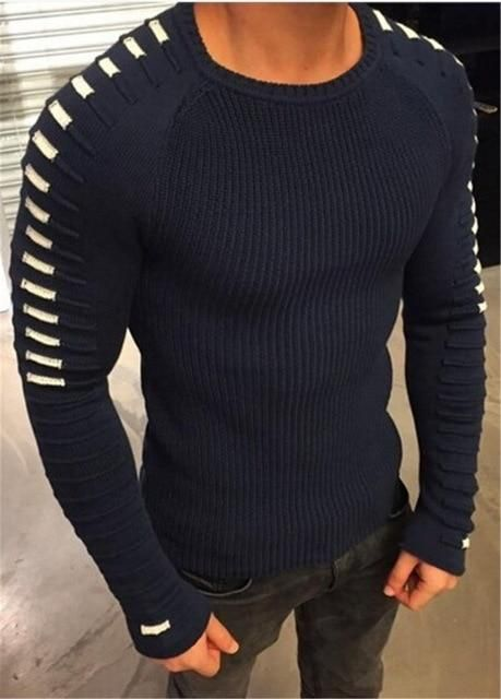 New Sweaters Men Style Patchwork Knitted Quality Pullover Men O-Neck Casual Men Sweater M-3XL