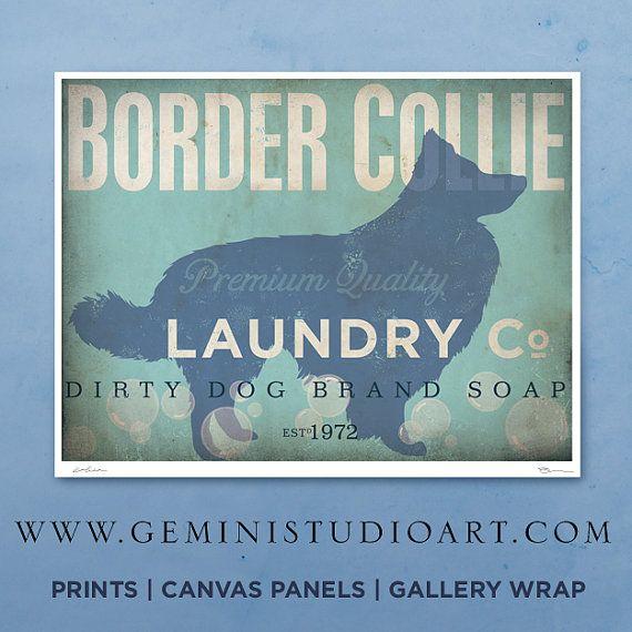 Border Collie laundry company laundry room artwork giclee archival