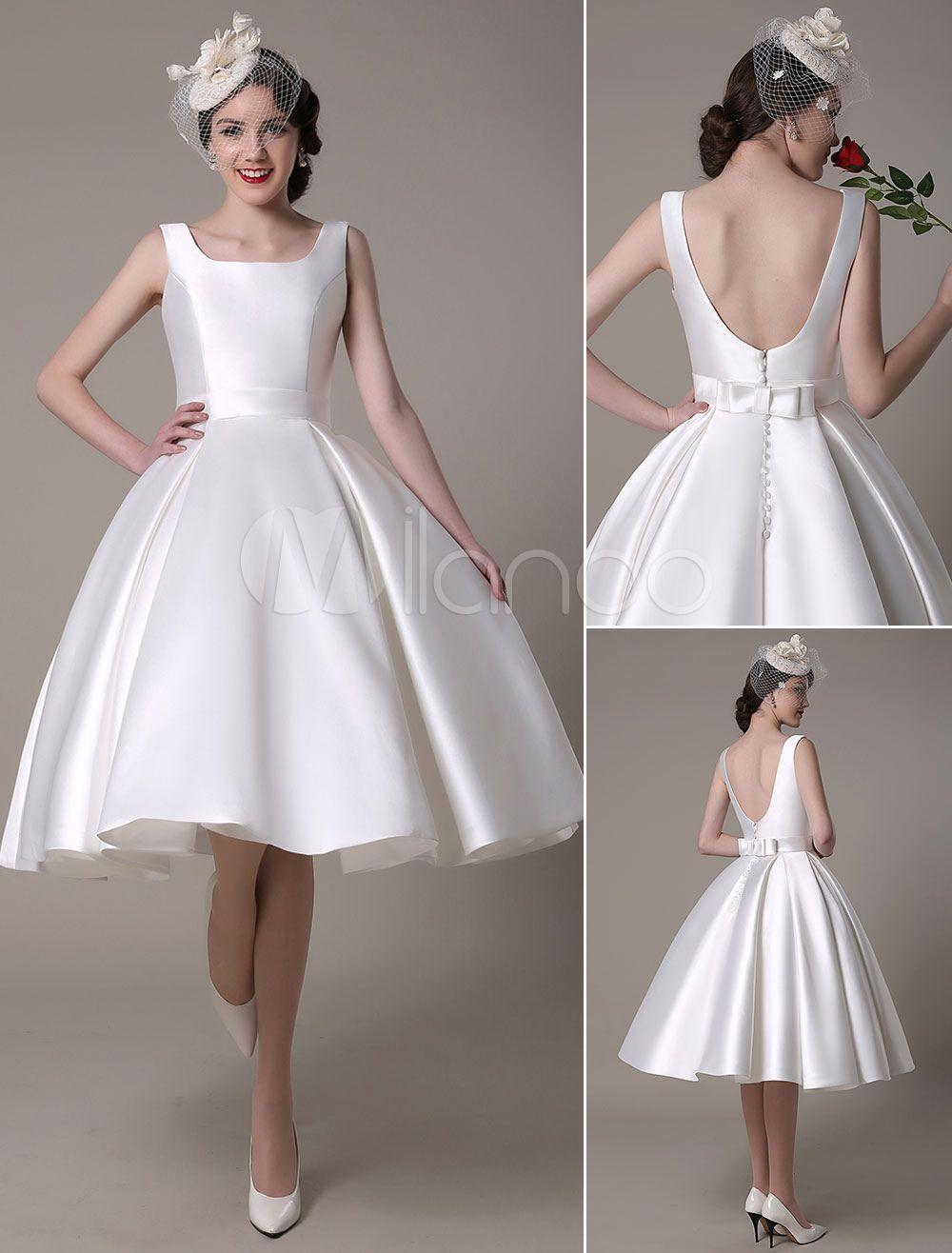Ivory wedding dress scoop backless knee length satin wedding gown