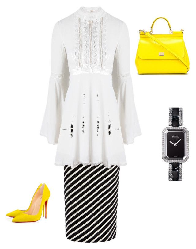 Black and Yellow by coomergirl on Polyvore featuring polyvore, fashion, style, For Love & Lemons, Karen Millen, Dolce&Gabbana, Chanel and clothing