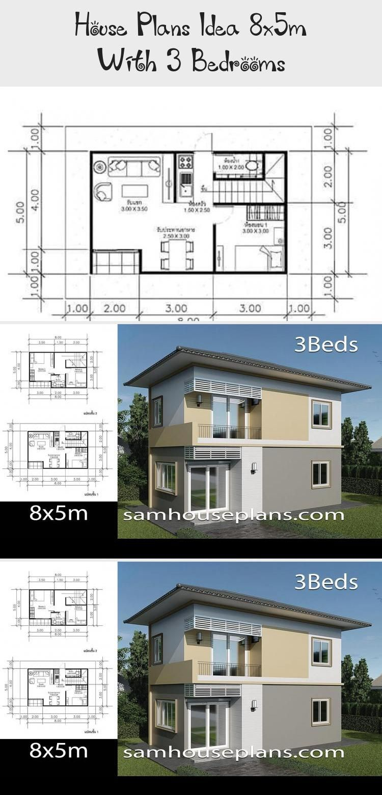 House Plans Idea 8x5m With 3 Bedrooms Ruby S Blog In 2020 House Plans Small House Plans Small House