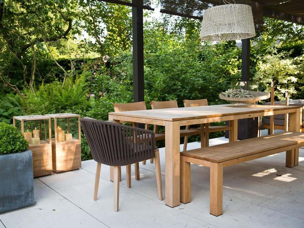 Dining table, armchairs and bench from Kos Teak collection