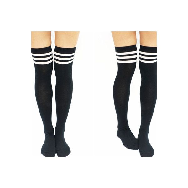 be2bfc6f94839 Thigh High Knee High Socks Sandysshop ($8) ❤ liked on Polyvore featuring  intimates, hosiery, socks, knee high socks, knee socks, knee hi socks, pink  knee ...
