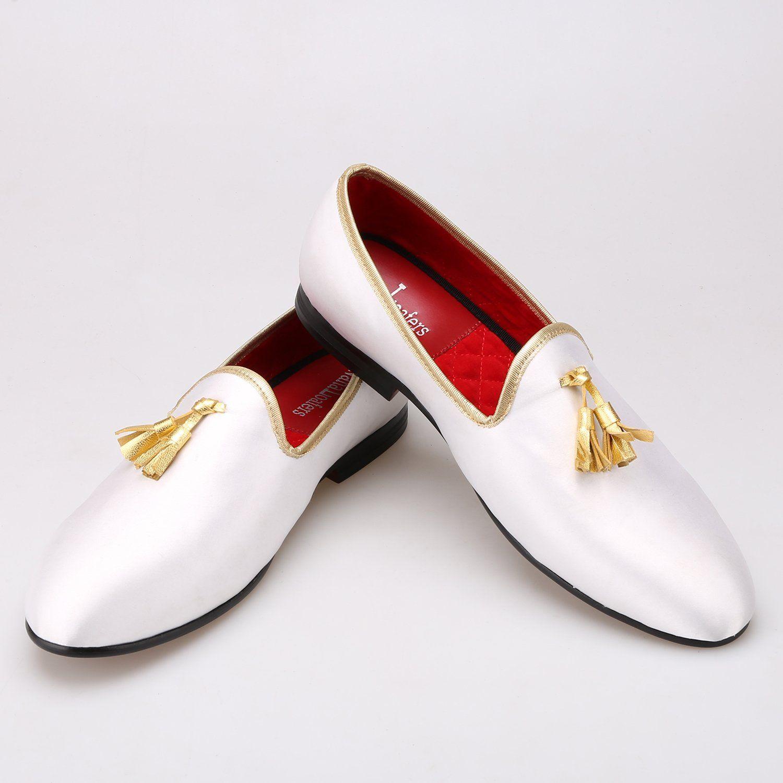 Men Gold Tassel White Loafers   Men's