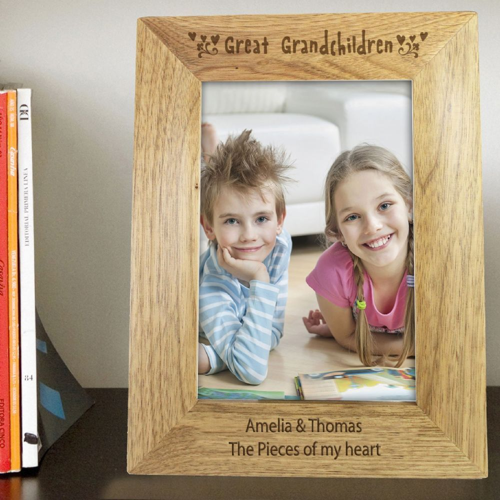 Personalise this Great Grandchildren 5x7 portrait wooden frame with a message over 2 lines of 30 characters per line The words Great Grandchildren is