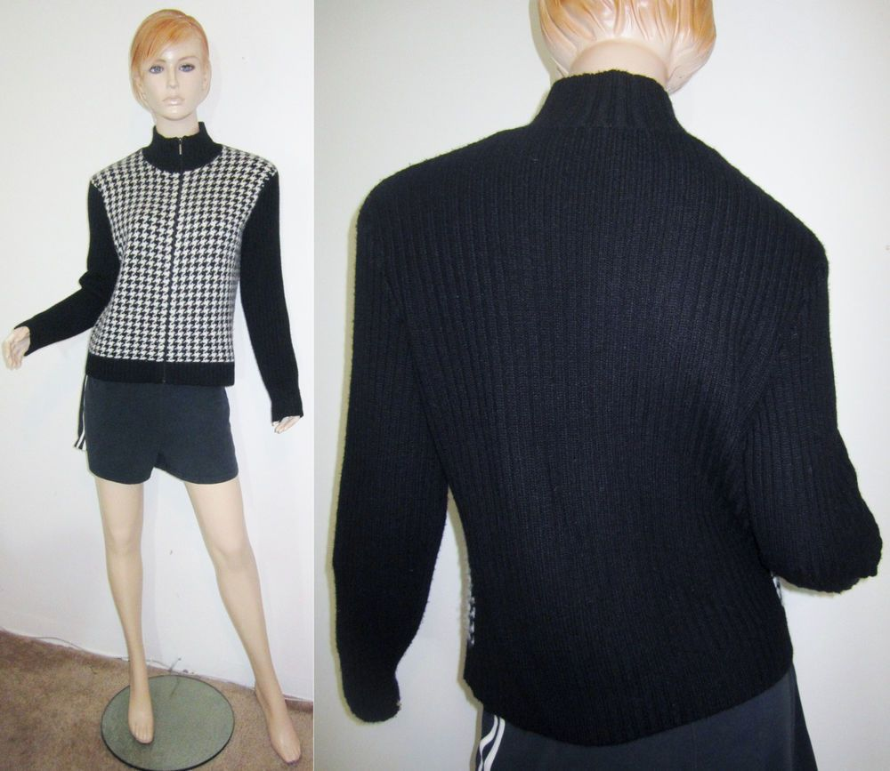 RALPH LAUREN GOLF 100% Cashmere Houndstooth Zip Up Cardigan ...