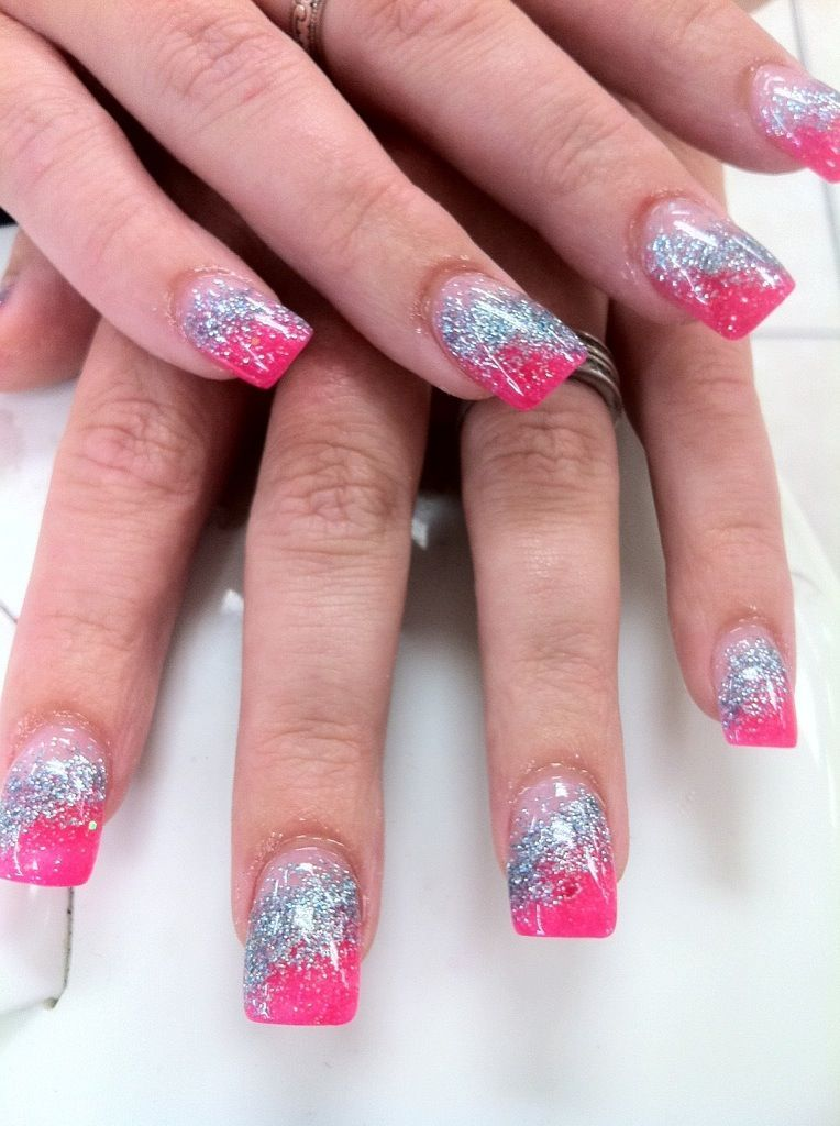 Nails By Yen Hot Pink And Sky Blue Glitter Acrylic Nails Acrylic Nail Tips Pink Acrylic Nails Pink Nails