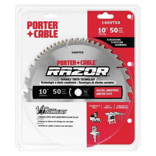 Porter Cable 100vt50 Razor 10 Inch 50 Tooth Atb Finishing Saw Blade With 5 8 Inch Arbor Diy Porter Cable Saw Blade It Is Finished