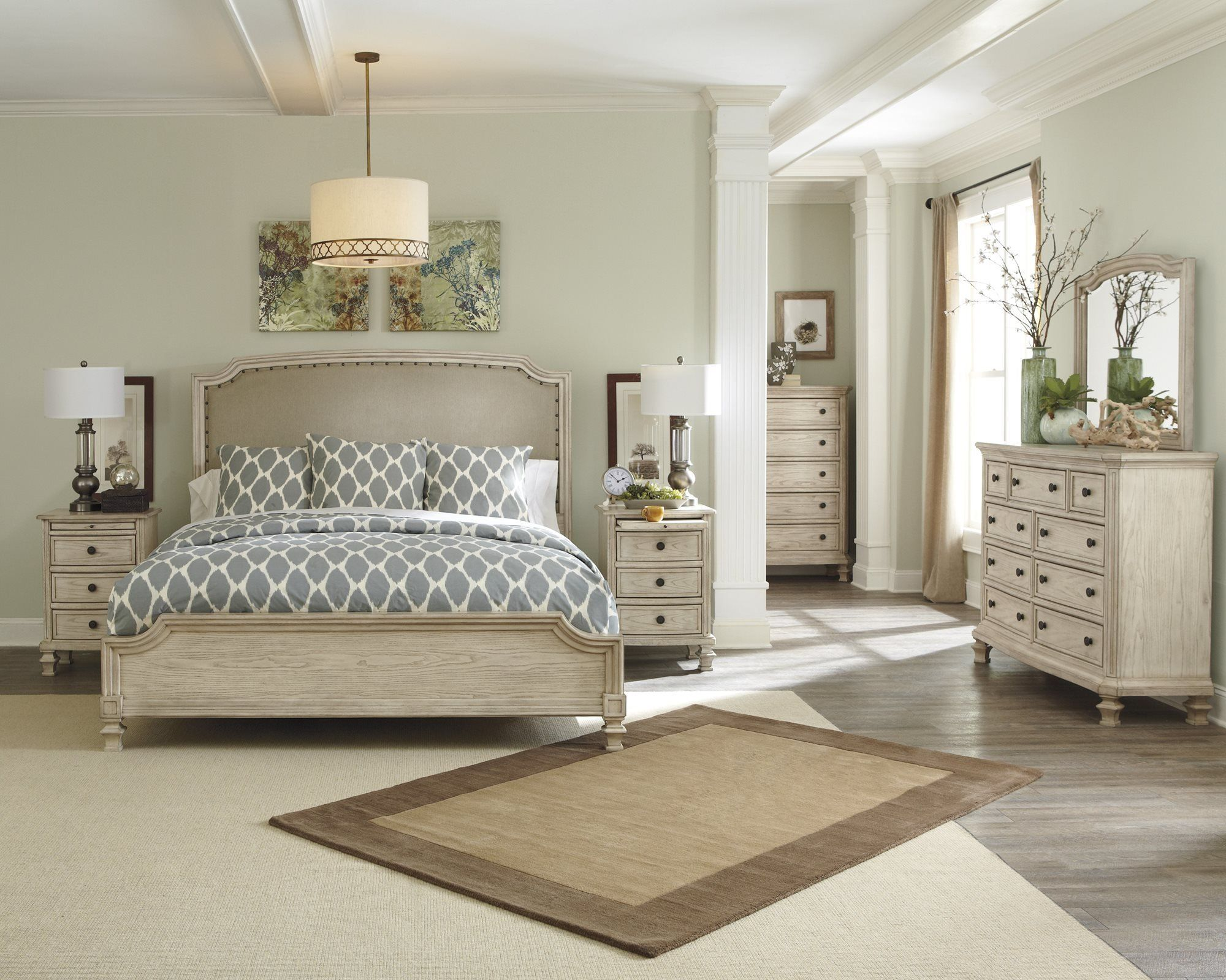Ashley Demarlos 5pc Bedroom Set Cal King Upholstered Bed One Nightstand Dresser Mirror Ashley Furniture Bedroom Ashley Bedroom Furniture Sets Bedroom Interior
