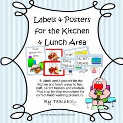 Everything you need to have a well organised and clearly labelled Kitchen and lunch area at your school. preschool or daycare. Labels from TeachEzy