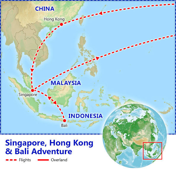 Singapore Hong Kong & Bali Adventure itinerary