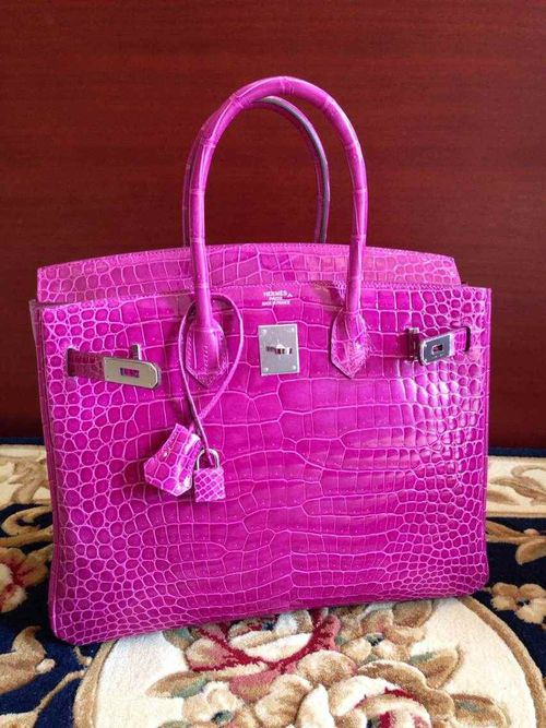 7579455d59a1 Hermes Birkin 35CM Shiny Niloticus Crocodile Porosus Inverted V Palladium  Hardware J5 Q Engraved Stamp