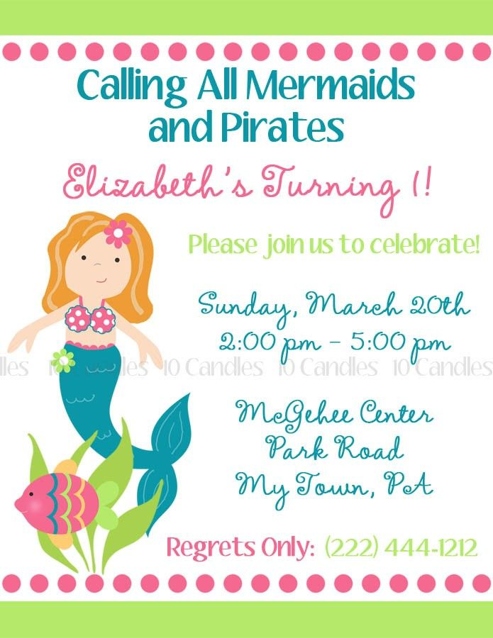Calling All Mermaids And Pirates Alexis Is Turning 3 Please Join