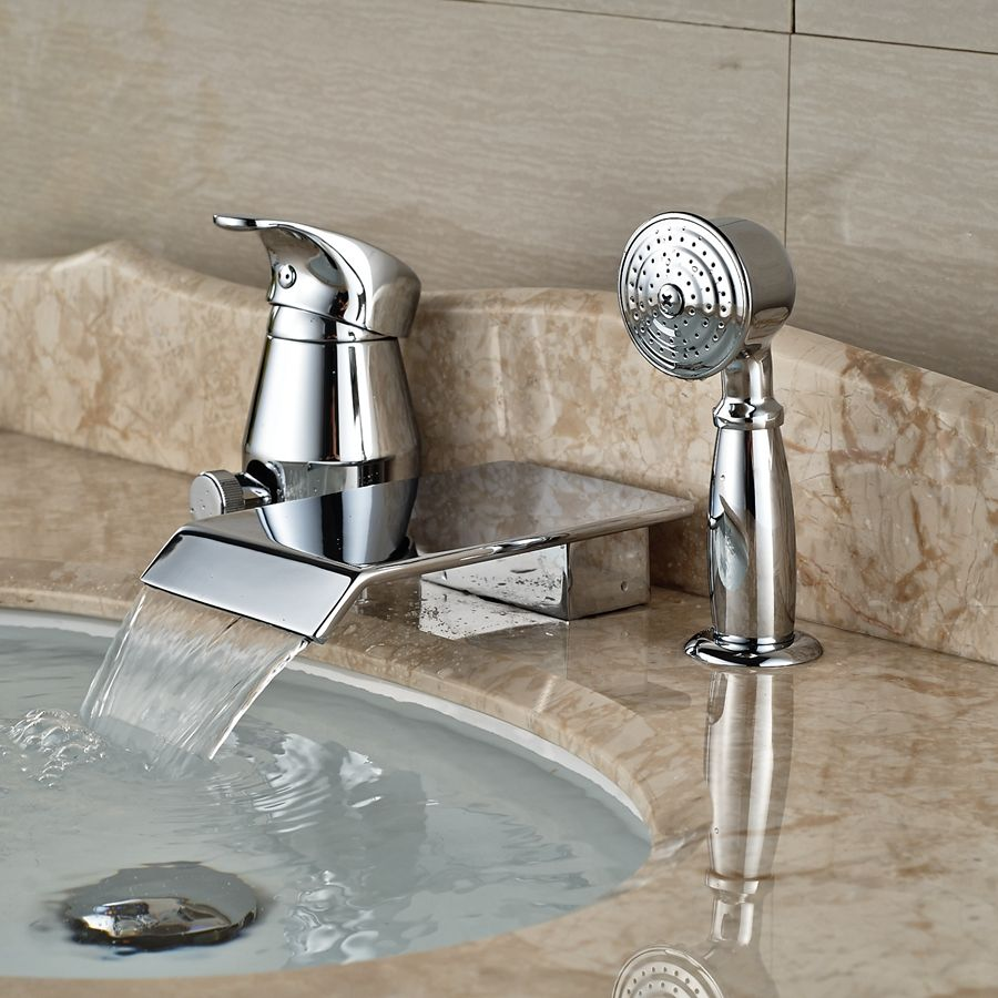 Wholesale And Retail Deck Mounted Waterfall Bathtub Faucet 3 Hole